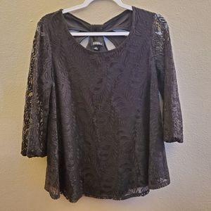 Dressbarn Roz & Ali Black Lace Floral Blouse Med